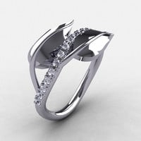 10K White Gold Cubic Zirconia Leaf and Vine Wedding Ring, Engagement Ring NN113-10KWGCZ