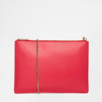 Whistles Rivington Chain Clutch in Acid Pink