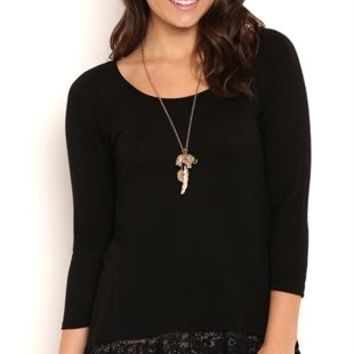 Three Quarter Sleeve High Low Tunic Top with Lace Flounce Insert