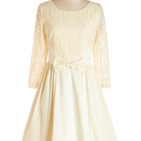 ModCloth Vintage Inspired Long 3 A-line Tough Entre'acte to Follow Dress in Ivory