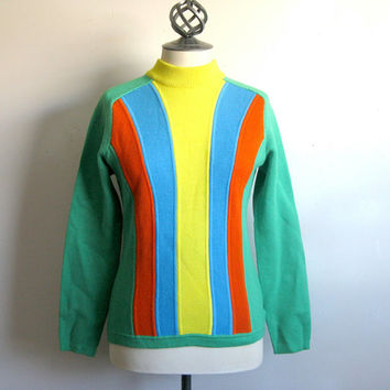 Number One Sun Vintage 1970s Green Ski Sweater Small