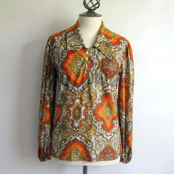 Vintage 1970s Blouse Boho Orange Brown Top 70s Jersey Blouse 12