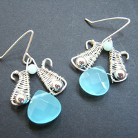 Bright blue amazonite earrings