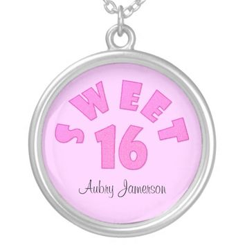 Personalized Pink Sweet 16 Necklace