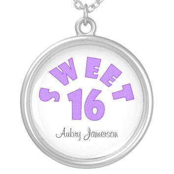 Personalized Purple Sweet 16 Necklace