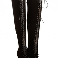 Black Faux Nubuck Lace Up Thigh High Peep Toe Boots @ Cicihot Boots Catalog:women's winter boots,leather thigh high boots,black platform knee high boots,over the knee boots,Go Go boots,cowgirl boots,gladiator boots,womens dress boots,skirt boots.