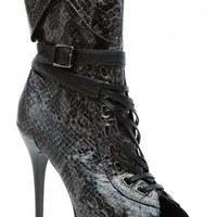 Grey Faux Snake Skin Lace Up Peep Toe Booties @ Cicihot. Booties spell style, so if you want to show what you're made of, pick up a pair. Have fun experimenting with all we have to offer!