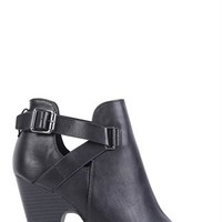 open toe bootie with buckle