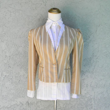 Annie Hall Lives - Vintage 80s Fitted & Cropped Riding BLAZER in Beige / White Linen - Fall Jacket - Office Wear - Size 2 4 XS S