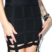 Lip Service Off the Grid Cage Garter Skirt Black