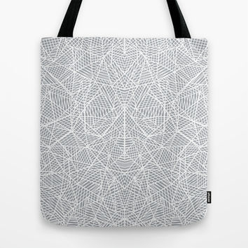 Abstract Lace on Grey Tote Bag by Project M | Society6