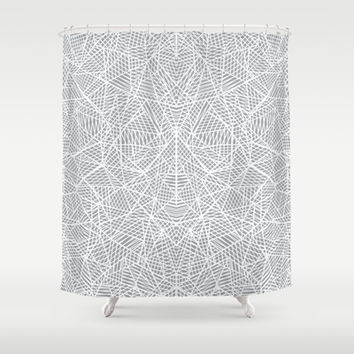 Abstract Lace on Grey Shower Curtain by Project M | Society6