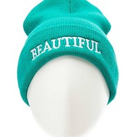 BEAUTIFUL EMBROIDERED FOLD-OVER BEANIE