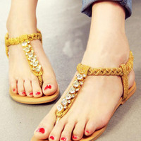 Gold T-strap Rhinestone Embellished Toepost Flats - Sheinside.com