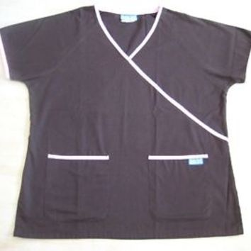 BUTTER-SOFT SCRUB TOP size (L) 2 POCKET IN BROWN & PINK TRIMS