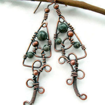 Handmade wire earrings with jasper