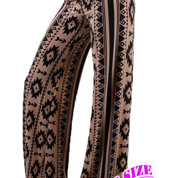 Black and Taupe Aztec Print Plus Palazzo Pants (1XL-3XL)