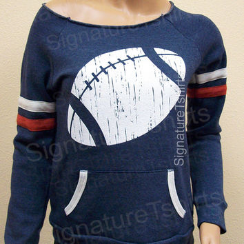 Football Off the Shoulder Sweatshirt  Girly Sport sweater Womens Sweat shirt cute Christmas Gift