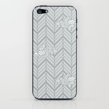 Pastel Gray Chevron Floral iPhone & iPod Skin by BeautifulHomes