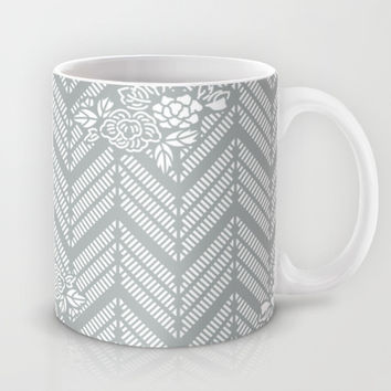 Pastel Gray Chevron Floral Mug by BeautifulHomes