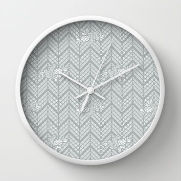 Pastel Gray Chevron Floral Wall Clock by BeautifulHomes