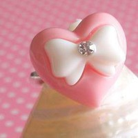 Pink Heart Bow Diamante Ring on Luulla
