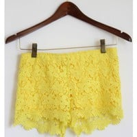 Yellow Floral Lace Shorts