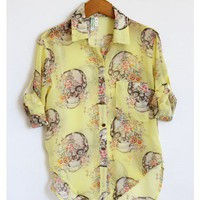 Skulls and Flowers Yellow Blouse