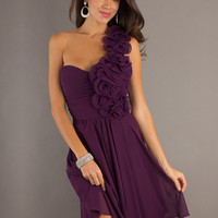Buy Elegant Grape A-line One-shoulder Flower Knee Length Chiffon Graduation Dress  under 200-SinoAnt.com