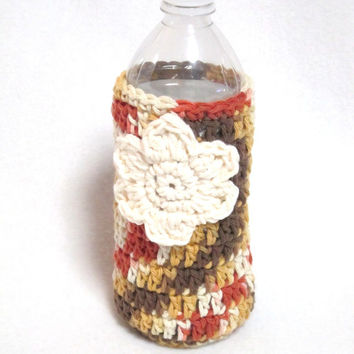 Crocheted Water Bottle Cozy, Fall Colors Water Bottle Cover, Flower Embellishment