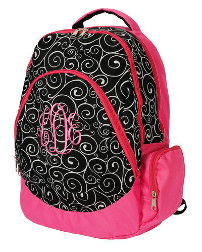 Personalized Backpack Black swirl with pink trim with your choice of thread color and font style