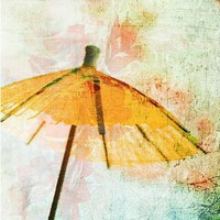 Japan Inspired Photograph, From the East,  Orange Paper  Umbrella, Tangerine Asian Decor