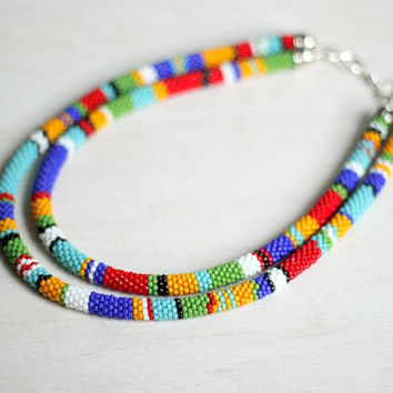 Multicolor Two-Strand Striped Necklace, Double-Strand Beadwork Necklace, African Inspired Rope Necklace, Zulu Style Necklace