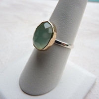 rose cut chalcedony ring in sterling silver and goldfill