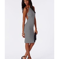 Missguided - Freda Ribbed Striped Open Back Dress
