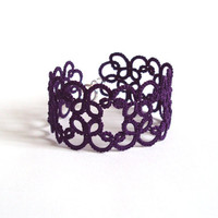 Purple Lace Bracelet in Tatting - Christina