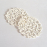 Ivory Wedding Coasters in Tatting (Set of two) - Rosetta