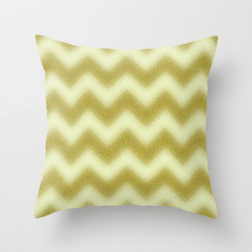 Chevron Gold Berry Throw Pillow by Alice Gosling | Society6