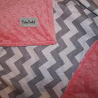 Baby Blanket in Chevron Grey & Coral Minky Baby Blanket--Custom Personalized