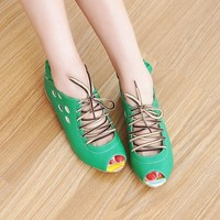 Holey Belted Fish Mouth Sandals Green by CherryBoutique on Sense of Fashion
