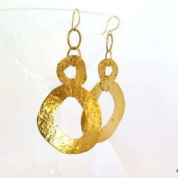 Double circle earrings, hammered gold brass hoop earrings, gift under 50