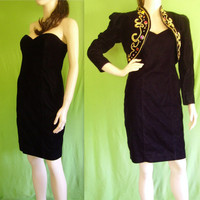 Vintage 80s Mini Dress / Jacket / Velvet Mini Dress Prom Dress / Jacket / Black Velvet Dress / Strapless Little Black Dress / Beaded