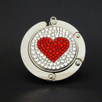 Pure Heart foldable bag hanger made with Swarovski flatback crystals