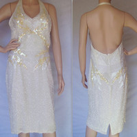 Vintage Dress / 80s Dress / Vintage Sequin Dress / Halter Dress / Beaded dress / Wedding Dress / Vintage Halter Dress / White Party Dress
