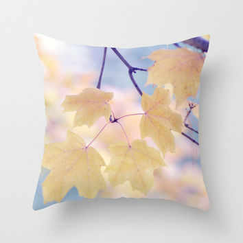 Yellow leaf photo pillow, autumn foliage cushion cover, decorative yellow blue throw pillow, pastel yellow peach blue purple bedroom decor