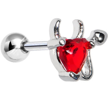 Stainless Steel Red CZ Devil Heart Tragus Cartilage Earring | Body Candy Body Jewelry