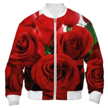 Red Roses Bomber Jacket created by ErikaKaisersot | Print All Over Me