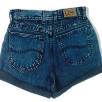 Deep Blue Vintage High Waisted Shorts from Now and Again Co.