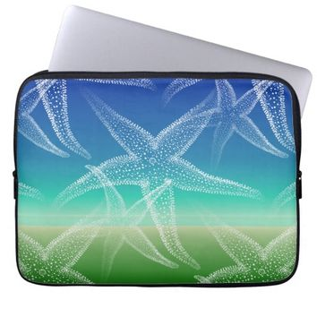 Starfish Blue Green Seascape Laptop Sleeve
