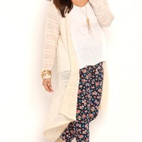Plus Size Long Sleeve Marled Knit Long Duster Sweater